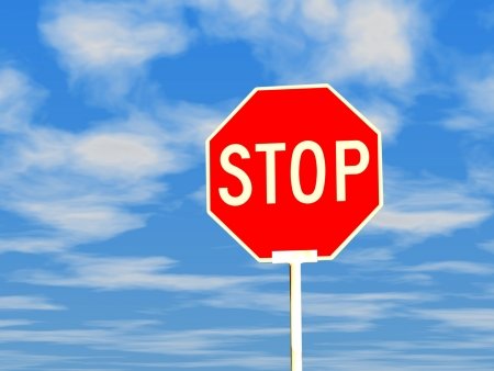 3d stop sign against blue sky and white clouds. Stock Photo - 16403452