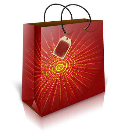 christmas shopping bag: Illustration of christmas shopping bag with lable on white background.