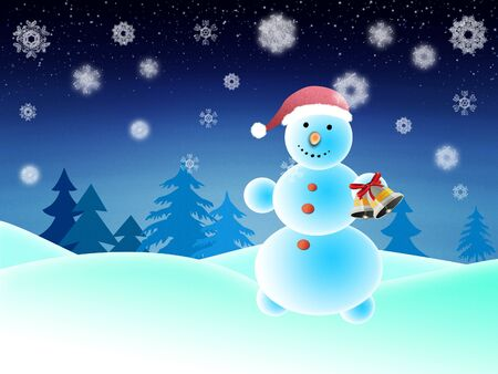 Illustration of winter background with cute snowman. illustration
