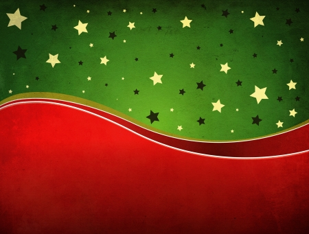 Grunge illustration of Christmas background with green and red ribbons.