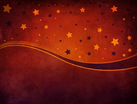 Grunge illustration of red Christmas background with stars. illustration