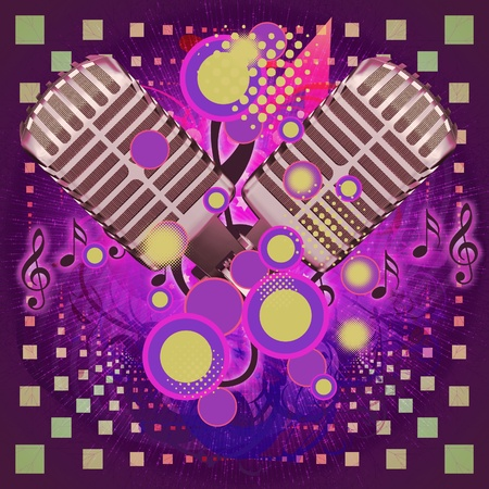 Illustration of colorful music background with two old microphones. illustration