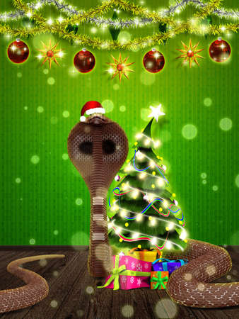 Illustration of Christmas, New Year postcard with snake in santa hat and fir tree. Stock Illustration - 16485469