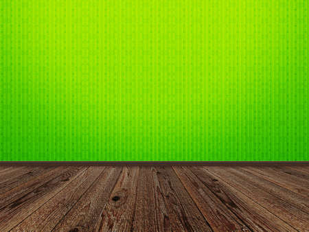 Illustration of empty room with green wall and wooden floor. illustration