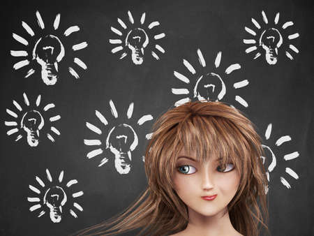 Illustration of light bulb on chalkboard background and thoughtful girl. illustration