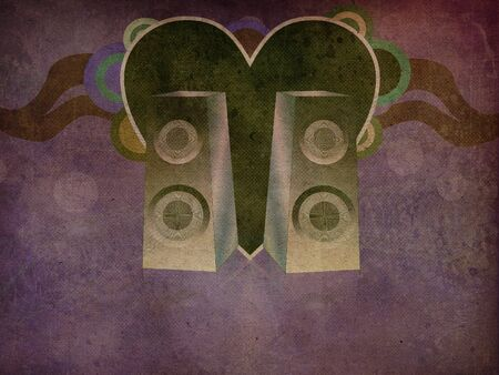 Illustration of abstract grunge music background with speakers. illustration