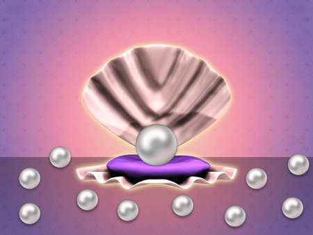 Illustration of white pearl in big open shell and some small pearls. illustration