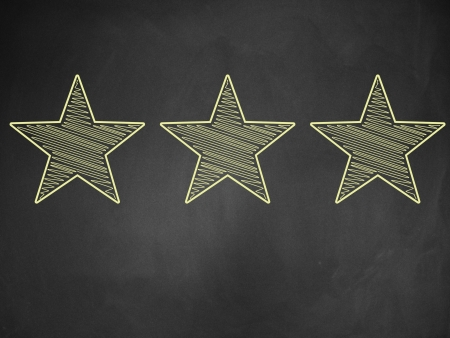 Illustration of five stars ratings yellow written on blackboard background. illustration