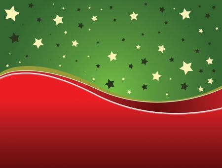 Illustration of Christmas background with green and red ribbons. Vector