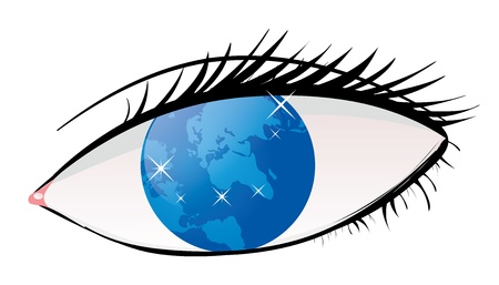 Illustration of human eye with world as iris on white background. Vector