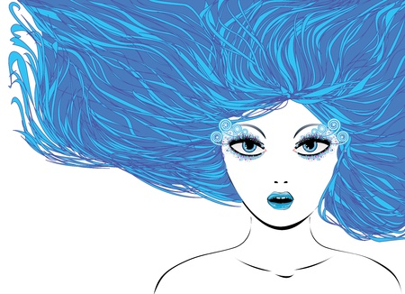 hairdress: Illustration of abstract winter girl with blue hair.