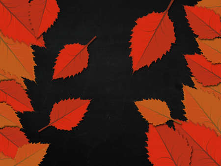 Illustration of colorful leaves on blackboard background. illustration