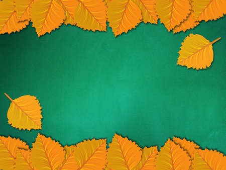 Illustration of yellow leaves on chalkboard background. illustration