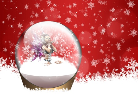 Illustration of fairy inside a snow globe blowing snow out of her hands. illustration