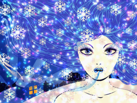 Illustration of abstract fantasy winter girl with blue hair and snowflakes. Stock Illustration - 16553809