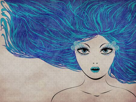 Grunge illustration of abstract winter girl with blue hair. Stock Illustration - 16553840