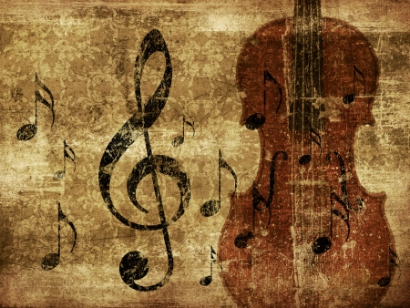 Illustration of grunge retro musical background with music notes and violin. illustration
