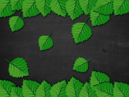 Illustration of green leaves on blackboard background. illustration