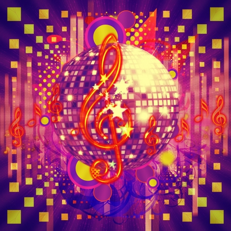 Illustration of abstract musical background with music notes and disco ball. illustration