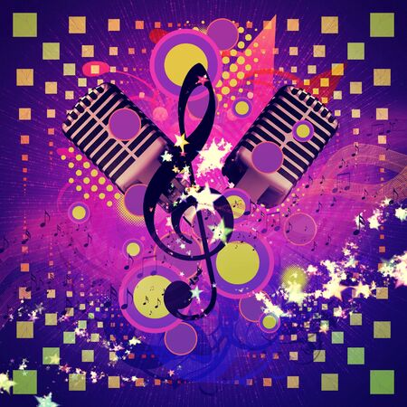 Illustration of abstract musical background with retro microphone. Stock Illustration - 16565948