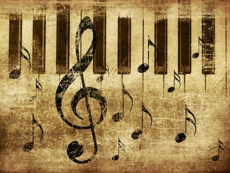 Illustration de grunge fond musical rétro avec des notes de musique et de piano. Banque d'images - 16565959
