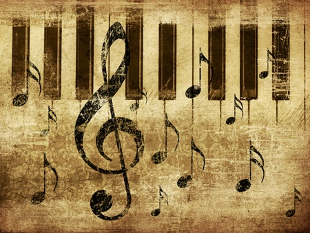 Illustration of grunge retro musical background with music notes and piano. illustration