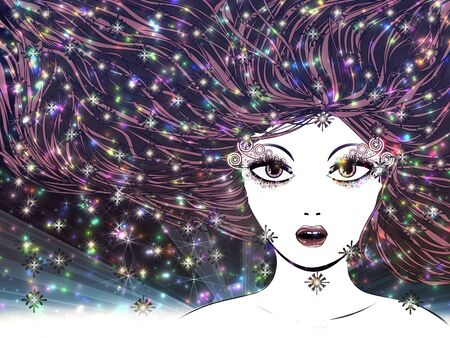 Illustration of abstract night portrait of winter girl with colorful snowflakes Stock Illustration - 16565947