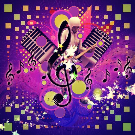 Illustration of abstract musical background with music notes and guitar player. illustration