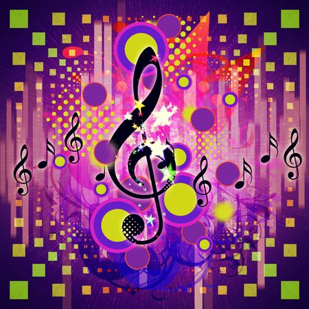 Illustration of abstract musical background with music notes. Stock Illustration - 16597444