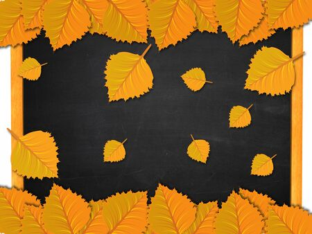 Illustration of yellow leaves on blackboard background. illustration