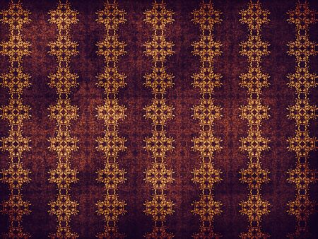 Illustration of abstract grunge purple background with yellow flower pattern. illustration