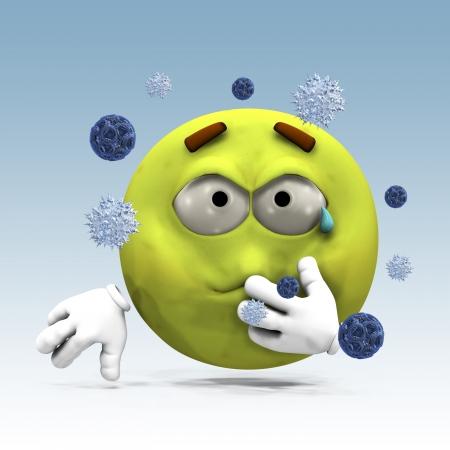 estornudo: Ilustraci�n del emoticon 3d enfermos y los virus atacando.