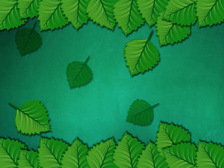Illustration of fresh green leaves on chalkboard background. illustration