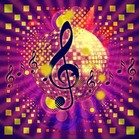 Illustration of abstract musical background with music notes and disco ball. Stock Illustration - 16607967