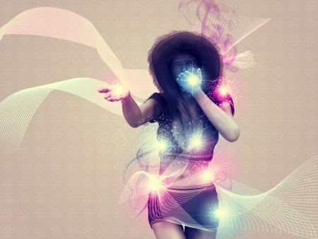 Illustration of a girl blowing magic sparks background. illustration