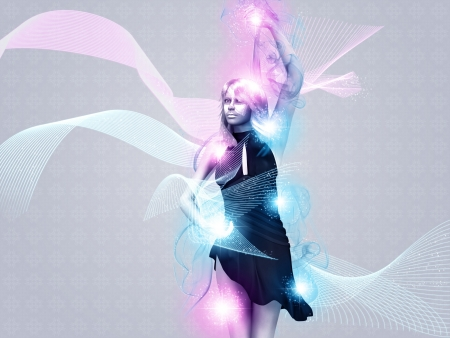 Illustration of a girl with dynamic light effect background. illustration
