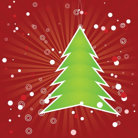 Illustration of green Christmas tree applique on red background Stock Vector - 16635075