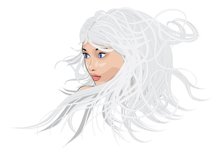 Illustration of a girl with blue eyes and long white hair  Vector