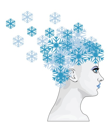 Illustration of abstract winter girl with blue snowflakes Stock Vector - 16635102