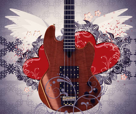 Illustration of abstract grunge retro musical background with guitar and hearts. illustration