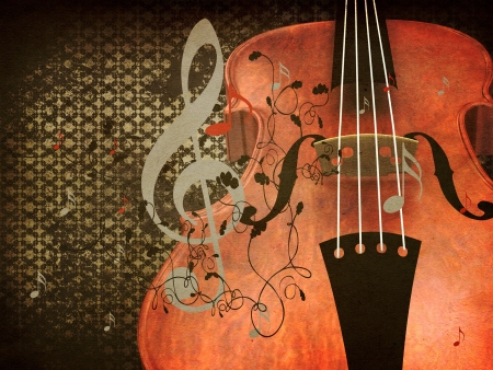 Illustration of abstract grunge retro musical violin background.