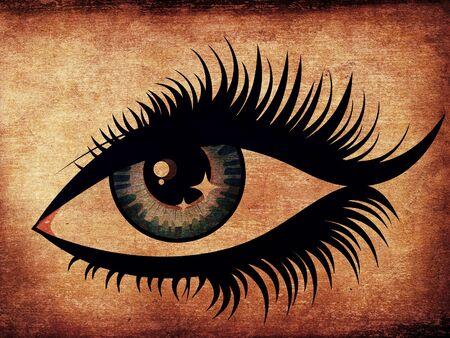 Grunge illustration of woman eye with long eyelashes. Stock Illustration - 16695614