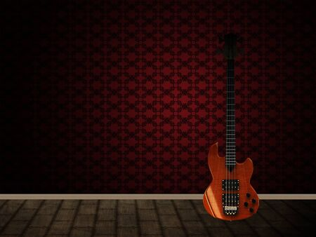 Illustration of guitar and blank bmpty room with wallpaper.  illustration