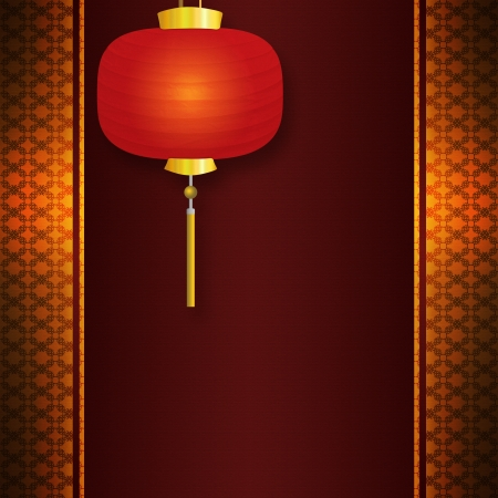Abstract background with antique, vintage pattern, and Chinese New Year lantern. Banque d'images