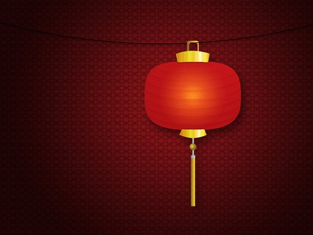 Illustration of red Chinese traditional paper lantern over wall. illustration