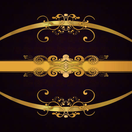 Abstract background with antique, vintage pattern, floral wallpaper ornament and golden ribbons. photo