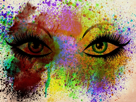 landscape painting: Illustration of abstract colorful grunge eyes on painted background. Stock Photo