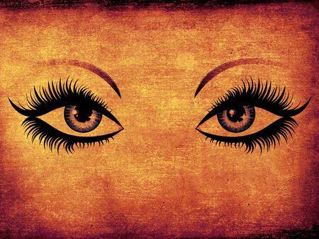 Grunge illustration of woman eyes with long eyelashes. Stock Illustration - 16734191