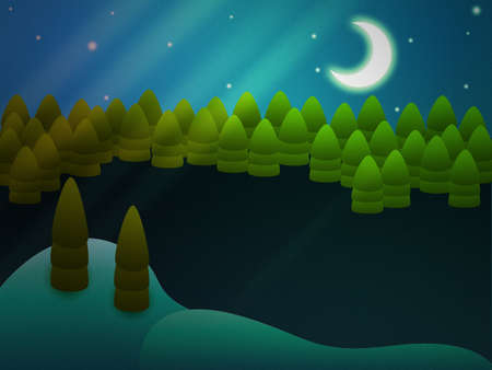 Illustration of abstract forest at winter night background. illustration