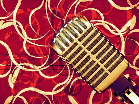 Illustration of retro microphone on vintage floral background. illustration